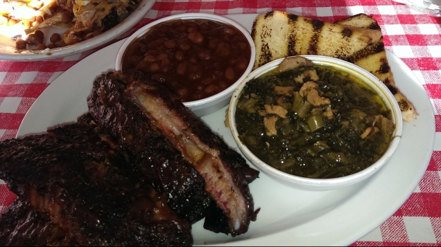 Half rack of ribs, backed beans, and collard greens