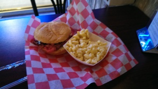 Brisket sandwich with mac and cheese.