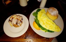 Spinach and goat cheese omlet, biscuit, cinnamon roll