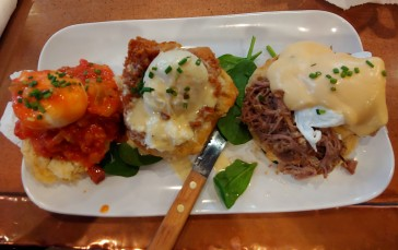 Eggs Cochon, Chicken St. Charles, Shrimp Boogaloo Benedict